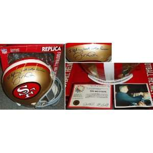Joe Montana Signed 49ers Rep Helmet Inscribed Sports