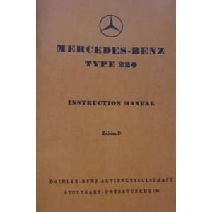 1952 mercedes benz 220 convertible owners manual