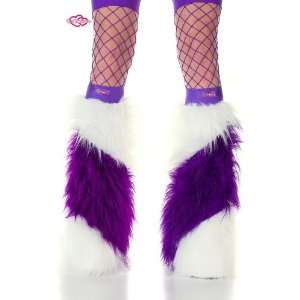 Striped Faux Fur Fuzzy Furry Legwarmers Boot Covers