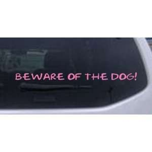 Pink 16in X 1.2in    Beware Of The Dog Decal Animals Car Window Wall