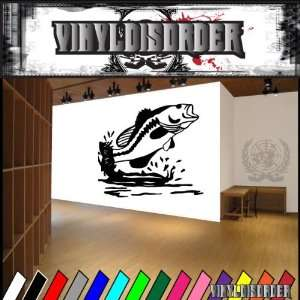 Bass Jumping Out Of Water Fish Animal Animals Vinyl Decal
