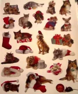 One Sheet Christmas Kitty CATS and Puppy DOGS Assorted Stickers