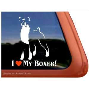 I Love My Boxer Dog Vinyl Window Dog Decal Sticker