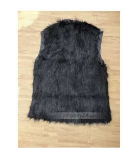 C51038 New Style Womens Faux Fur Zipper Polyester Winter Warm Vest