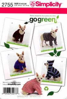 Simplicity Pattern 2755 Dog clothes Tops Sweater Hoodie Shirt XS S M