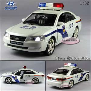 New Hyundai Police Car 132 Alloy Diecast Model Car With Sound&Light