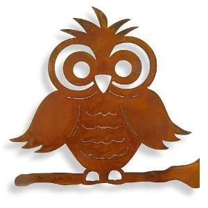 Whimsical Owl Rusted Metal Outdoor Wall Art, 15 Patio