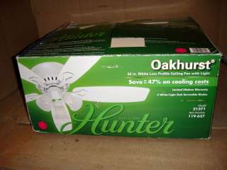 HUNTER OAKHURST 52 IN WHITE CEILING FAN 21371