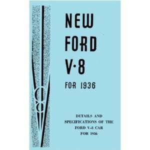 1936 FORD V 8 V8 Car Instruction Owners Manual Automotive
