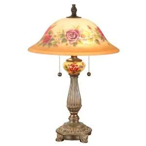 Rose Porcelain Table Lamp in Antique Golden Sand