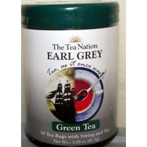The Tea Nation Earl Grey Green Tea (1 Pack) 50 Tea Bags