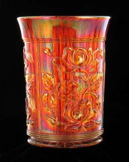 IMPERIAL RADIUM LUSTRE OPEN ROSE MARIGOLD CARNIVAL GLASS TUMBLER