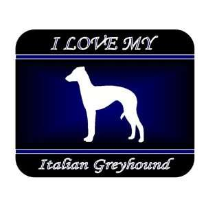 I Love My Italian Greyhound Dog Mouse Pad   Blue Design