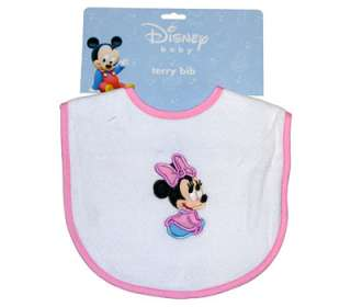 DISNEY Baby Minnie Mouse Pink Embroidered Terry Bib NEW