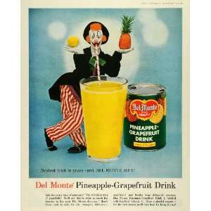 Pineapple Grapefruit Drink Vitamin C Circus Clown   Original Print Ad