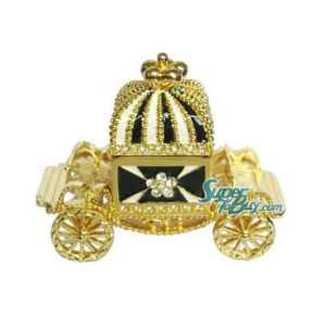 Black Crown Carriage Car   Jewelry Trinket Box Swarovski