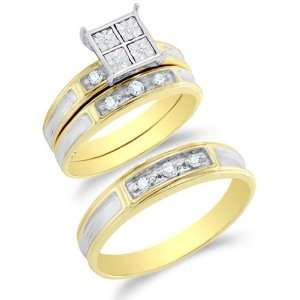 Size 9   10K Two Tone Gold Diamond Mens and Ladies His & Hers Trio 3