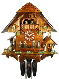 Black Forest Cuckoo Clock 8 Day Music Dancer Chalet NEW