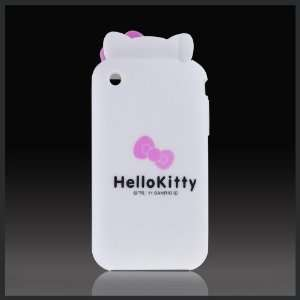 White Hello Kitty Ears w Bow Flexa flexible silicone soft skin case