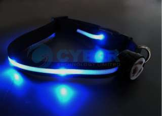 Blue LED Flashing Light Dog Pet Nylon Safety Collar Tag