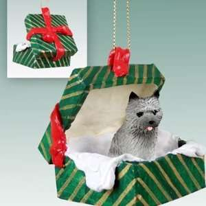 Cairn Terrier Green Gift Box Dog Ornament   Gray