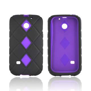 Black Purple Rubberized Dual Layer Hard Silicone Case Cover For Huawei