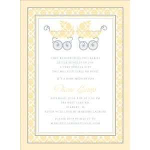 Damask Pram Buttercup Twins Baby Shower Invitations