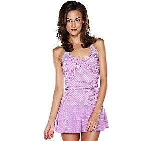 ISAAC MIZRAHI LIVE Dot Print Ruched Bodice Halter Swim Dress WISTERIA