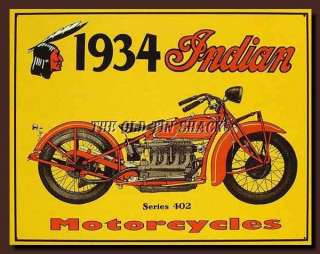 Nostalgic Tin Metal Sign   1934 Historical Indian Motorcycles Series