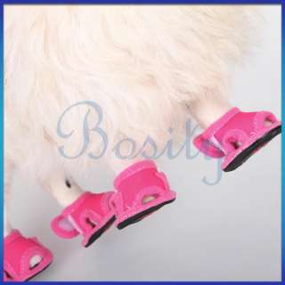 Pet Puppy Dog Summer Shoes Sandals Boots Shocking Pink No.1/2/3/4/5