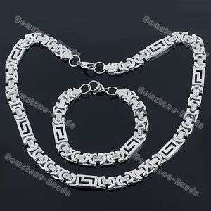 Stainless Steel Chains Bracelet and Necklace set Mens Fashion jewelry