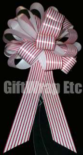 12 RED WHITE CANDY STRIPE 8 PULL BOWS GIFT CHRISTMAS WREATH TREE