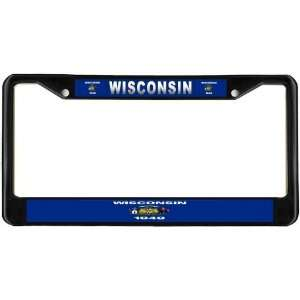 Wisconsin State Flag Black License Plate Frame Metal