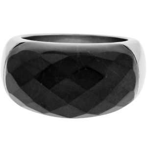 Inox Jewelry Womens Black Howlite 316L Stainless Steel Ring Jewelry