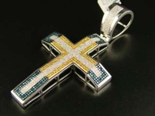 MENS WHITE GOLD FINISH MULTI COLOR DIAMOND CROSS 3.11 C