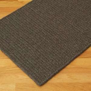 Mills WH35 All Natural Wool Herringbone Dark Brown Braided Rug Baby
