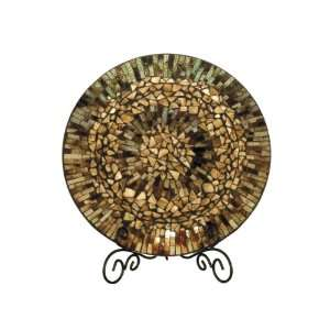 Dale Tiffany PG10154 Amber Shell Decorative Charger Plate, 17 3/4 Inch