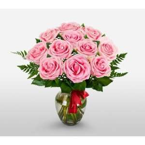 Send Fresh Cut Flowers   12 Long Stem Pink Roses  Grocery