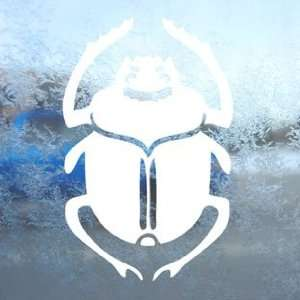Scarab Beetle White Decal Car Laptop Window Vinyl White Sticker