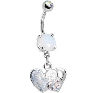 Aurora Gem Falling for You Heart Belly Ring Jewelry