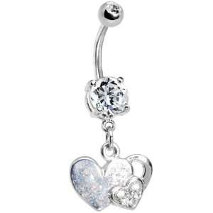Crystalline Gem Falling for You Heart Belly Ring Jewelry