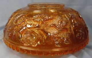 Vintage ROSES MARIGOLD CARNIVAL GLASS BOWL Lovely (O)