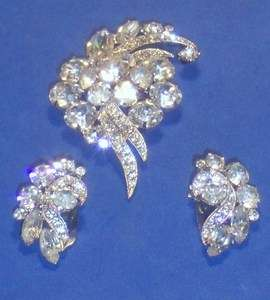 Pc Vintage Signed EISENBERG ICE Demi Parure Brooch Pin Clip Earrings