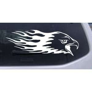 Flaming Eagle Head Car Window Wall Laptop Decal Sticker    White 16in