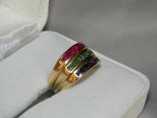 VINTAGE ESTATE LADIES YELLOW GOLD 14K EMERALD RUBY SAPPHIRE STACKING