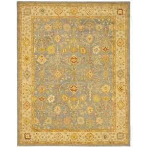 Blue and Ivory Hand spun Wool Square Area Rug, 8 Feet