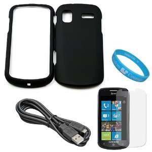 Black Rubberized Crystal Hard Case Cover for Samsung Focus Windows