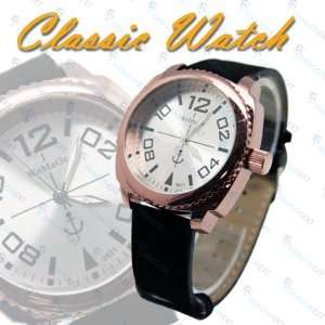 Classic Style Velvet Belt Wrist Men Stainless Watch