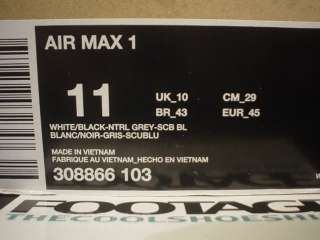 2009 Nike Air Max 1 WHITE BLACK NEUTRAL GREY SCUBA BLUE Sz 11