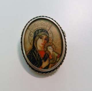ANTIQUE 800 SILVER HAND PAINTED VIRGIN MARY BABY JESUS BROOCH PENDANT